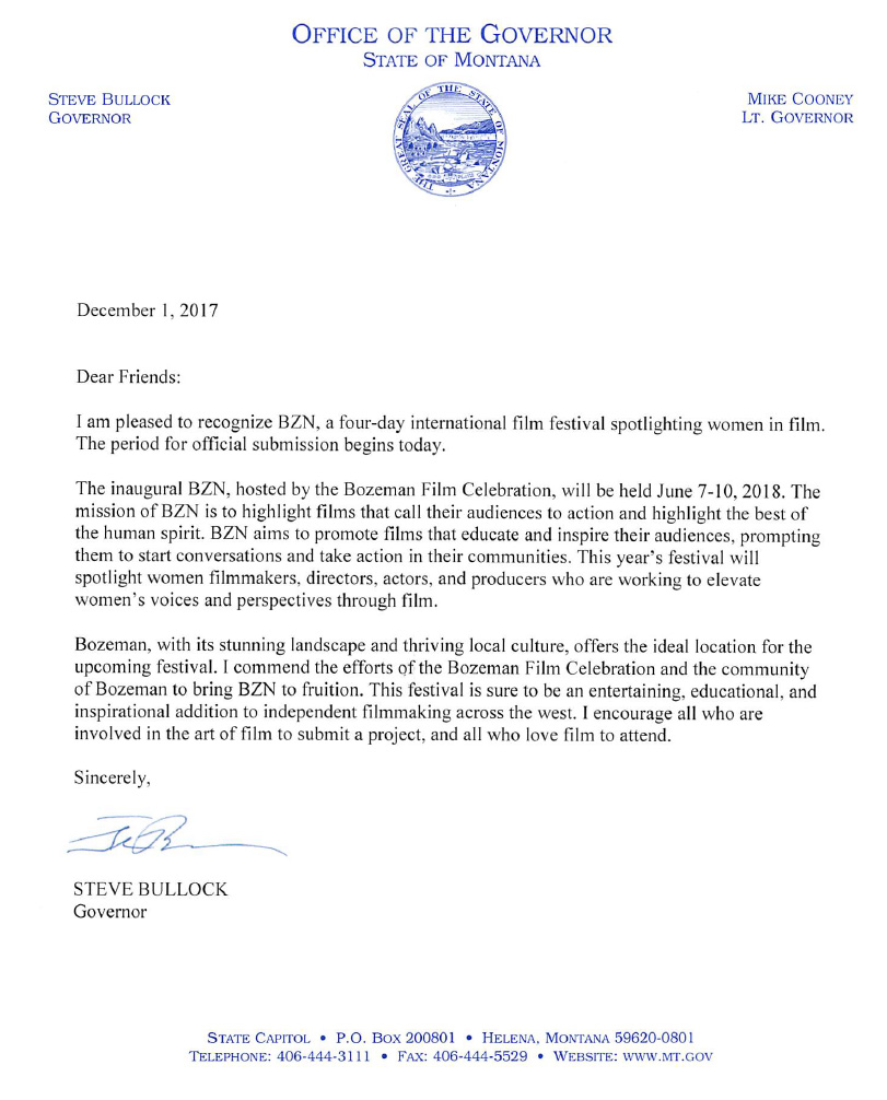 Governor Bozeman Film Celebration Letter of Support