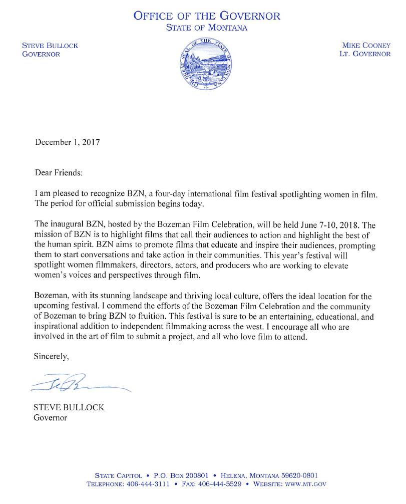 Govenor BZN Letter of Support