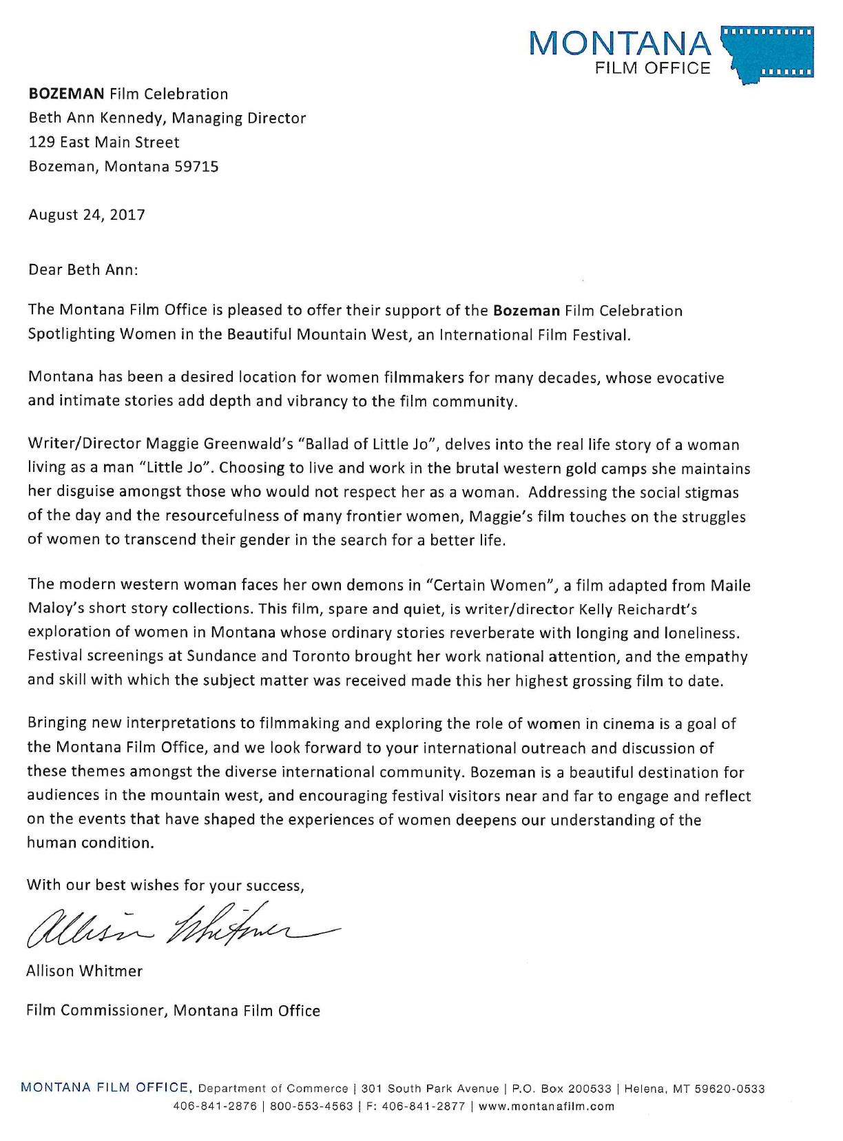 Montana Film Office Letter