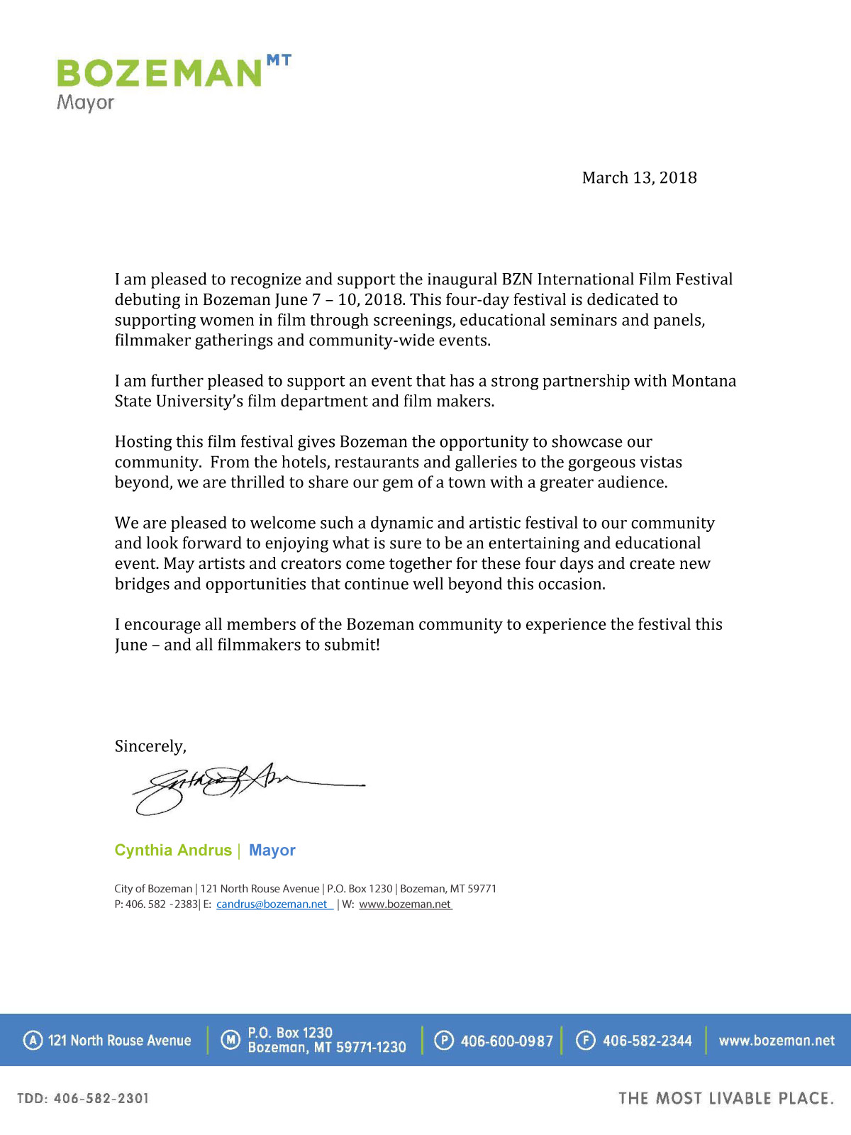 Bozeman Mayor BZN Letter of Support